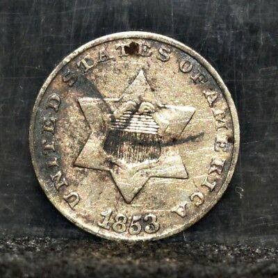 1853 Three Cent Silver - XF Details (#17281)