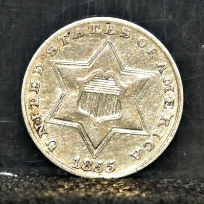 1855 Three Cent Silver - XF Details (#17283)