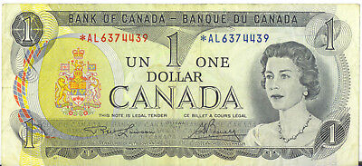 Bank of Canada 1973 $1 One Dollar Replacement Note *AL Prefix Asterisk F/VF