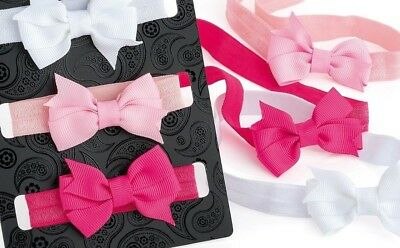 Head band wrap Baby toddler small tiny bow elastic set-3 soft - safe stretch