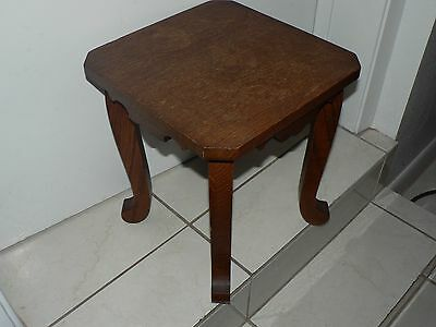 Antique Vintage Solid Tiger Oak Foot Stool Stand Country Style w Legs