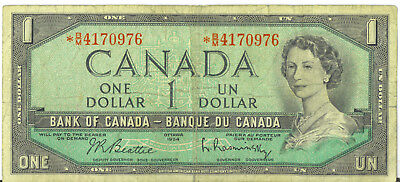 Bank of Canada 1954 $1 One Dollar Replacement Note *BM Prefix Asterisk VG+ FPN