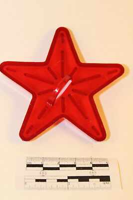 Vintage Clear Red Plastic Five Point Star/Starburst Cookie Cutter with Handle