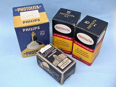 Small Job Lot Vintage Photographic Camera Flash Bulbs Philips Photolita 500W Etc