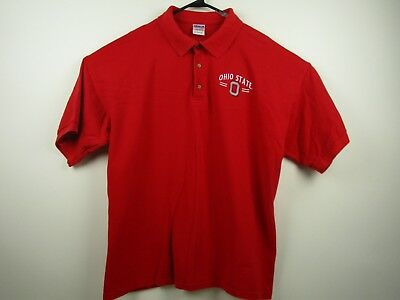 Mens Gildan XL Red Ohio State University OSU Buckeyes 3 Button S/S Polo Shirt