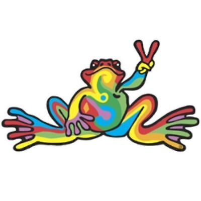 """Peace Frogs Retro Frog Sticker ~ 6"""" x 3"""" ~ High Quality Vinyl ~ Ships Free!!!"""