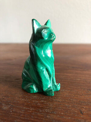 Natural Authentic Malachite Sitting Cat Figure Figural Stone Statue Carving