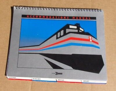 Vtg AMTRAK Accommodations Manual Amfleet ~ Metroliner ~ Heritage ~ Superliner