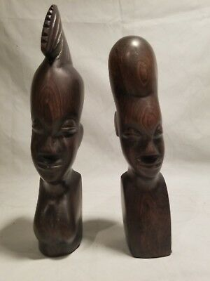 Woman and Man Sculpture African Carved Art Tribal Wooden Set