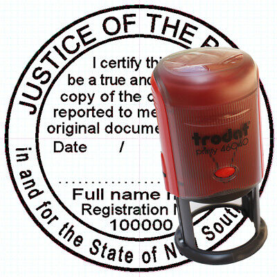 JP stamp JUSTICE OF THE PEACE STAMP Custom Self Inking Rubber ROUND 40mm