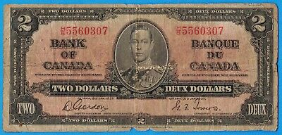 $2 1937 Bank of Canada Note Gordon-Towers H/B Prefix - Circulated