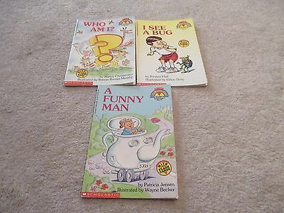 Lot of 3 Early Reader Softcover Readers, Who Am I, Funny Man, See Bug