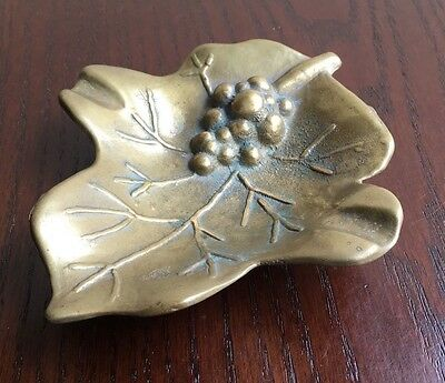 Vintage Cast Brass Metal Decorative Leaf Ashtray or Small Dish Autumnal Leaves