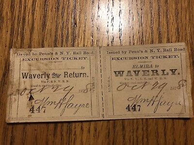 P&NYRR 1878 Elmira Ny To Waverly NY Used Ticket Penns & NY Rail Road