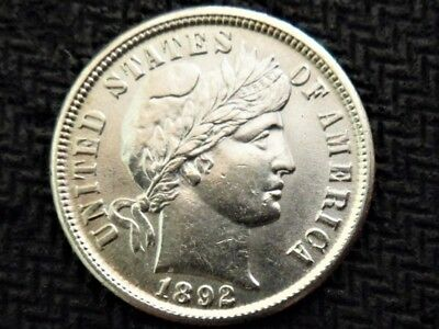 Beautiful UNC 1892 Barber Dime Excellent Example *obverse oh so lightly cleaned*