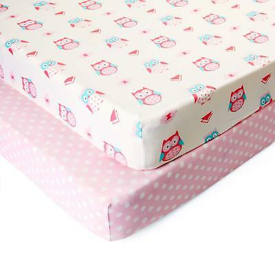 Just Baby Pink Owl/Dot Fitted Crib Sheet Baby Shower Gift 2 Pack Semi-Waterproof