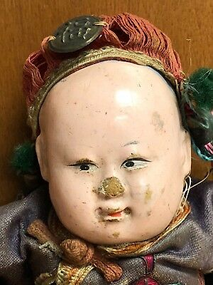 """Vintage Antique Chinese Composition Doll in Embroidered Silk Clothing 8"""""""