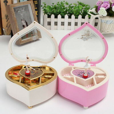 Girls Ballet Dance Heart Shape Music Jewellery Box Ballerina  Birthday Gifts