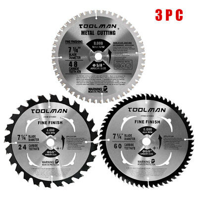 "Circular Saw Blade 7.25"" 5/8"" 60T 48T 24T 3 pcs for DeWalt & Makita Carbide Tip"