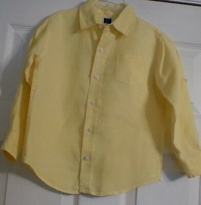 Toddler Boy's Yellow Janie And Jack Long Sleeve Shirt Size 4 Boys 100% Linen