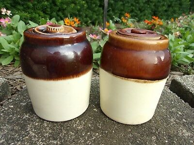 "2 Vintage Small Brown & Cream SPICE JARS Stoneware CROCKS with Lids  ~ 4"" tall"