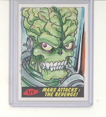 Brian Kong signed 1/1 color sketch card NM 2017 Topps Mars Attacks The Revenge!