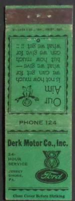 Jersey Shore PA Matchbook Cover