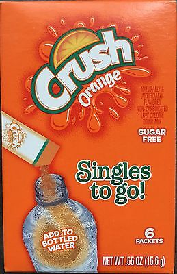 Lot Of 10 Boxes / 60 Packs Orange CRUSH Sugar Free- Singles To Go