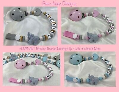🐘PERSONALISED DUMMY CLIP 🐘 ELEPHANT 🐘 Name - 12 Letters 🐘 SPARKLE COLOURS 🐘