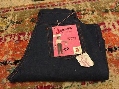 Vtg Vintage 50s 1950s New Raw Denim Jeanies Sanforized SideZip Blue Bell Girls 8