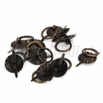10pcs Small Vintage Bronze Round Drop Handles Knobs For Drawer Cabinet