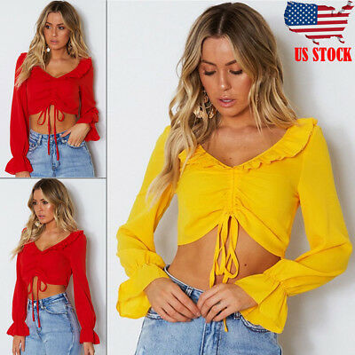 Fashion Women Slim Off Shoulder Shirt Crop Top Ladies Long Sleeve Blouse S-L