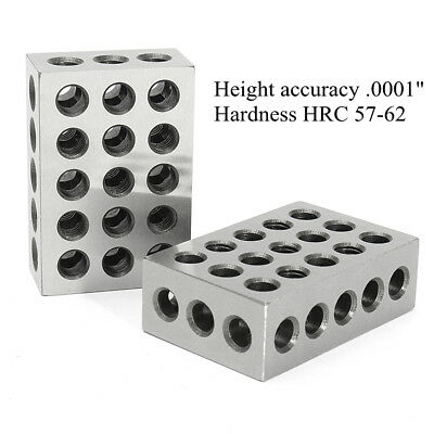 """2 Pairs 1-2-3 Blocks Set 0.0001"""" Precision Matched Mill Machinist 123 23 Holes"""