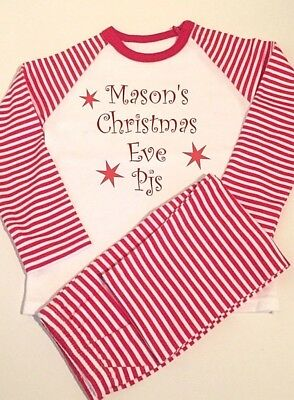 Personalised Christmas pyjamas, Red white stripe,Christmas Eve pjs, boys girls