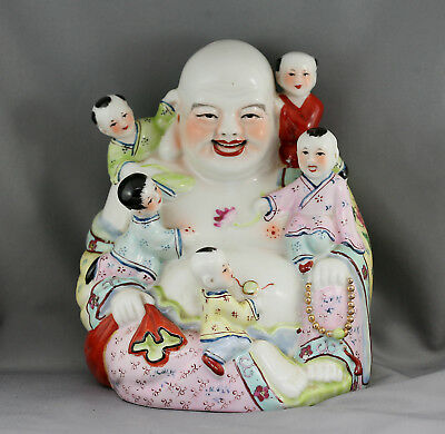 Vintage  Chinese Hand Painted Happy Buddha With Children  Porcelain Statue