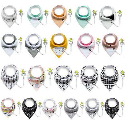 Multi-Function Cotton Bibs With Pacifier Triangle Towel Baby Bib Slobber Double