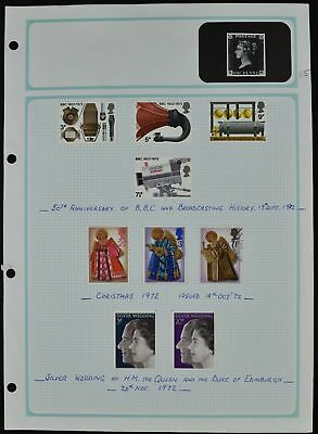 GB 1972 QEII Commemoratives Mint/MH Album Page Of Stamps #V7319