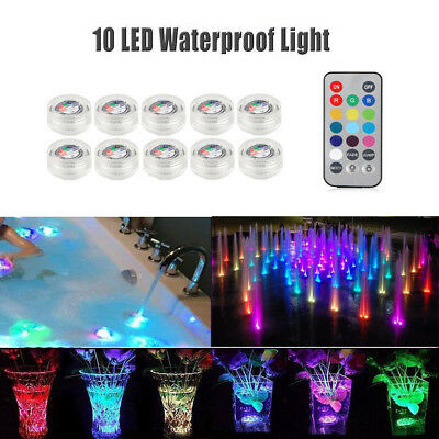 10Pcs Waterproof LED Submersible Lights RGB for Vase Wedding Party with Remote