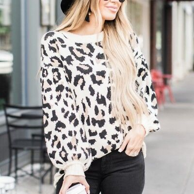 Womens Long Sleeve Animal Leopard Print T-Shirt Lady Casual Tops Blouse Jumpers