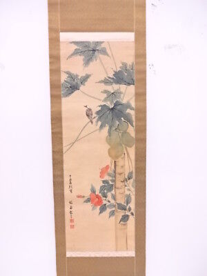 3830111: Japanese Wall Hanging Scroll / Hand Painted / Nuts & Flower / Bird