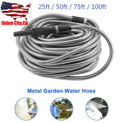 25/50/75/100ft Stainless Steel Flexible Metal Garden Water Hose Pipe+Nozzle Kit