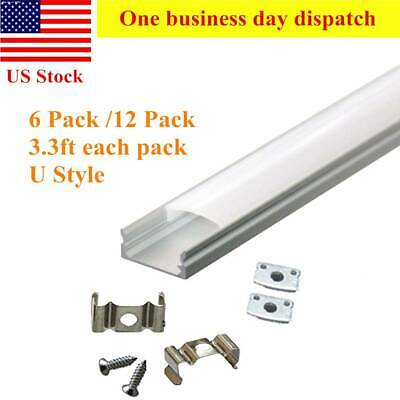 6pcs/12pcs 3.3ft DIY Aluminum Channel Holder W/Cover&Mount For LED Light Strip