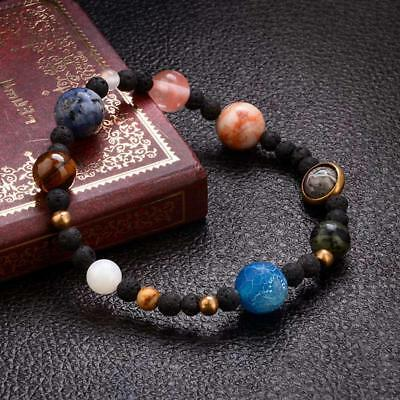 Weave Solar System Eight Planets on Natural Stone Beads Women Bracelet Jewelry
