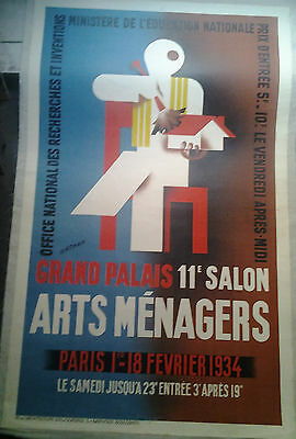 Affiche Ancienne Grand Palais Arts Menagers Paris 1934 Nathan