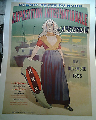 Affiche Ancienne Exposition Internationale Amsterdam 1895 Chemin De Fer Nord