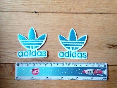 2 x ADIDAS Embroidered Logo Iron/Sew-on Badge   BLUE,  WHITE