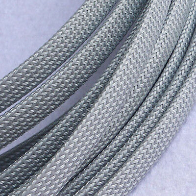 3-30mm Diameter Expandable Braided PET Cable Sleeving High Density Silver+Gray
