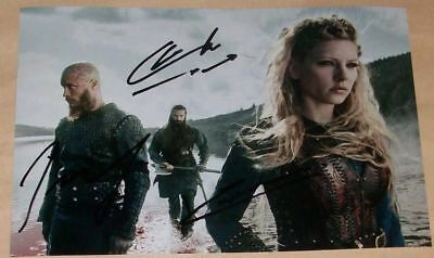 Vikings Photo Poster Autographes Katheryn Winnick, Clive Standen, Travis Fimmel