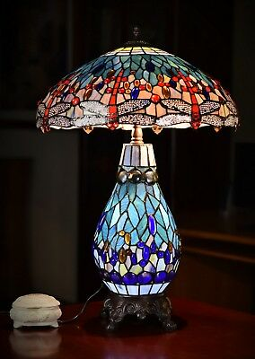 "Museum Quality Huge 18"" Wide Traditional Blue Dragonfly Style Tiffany Table Lamp"