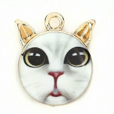 3x Cute enamel cat in a cup charm pendants Cat-purr-cino 24mm gold plated